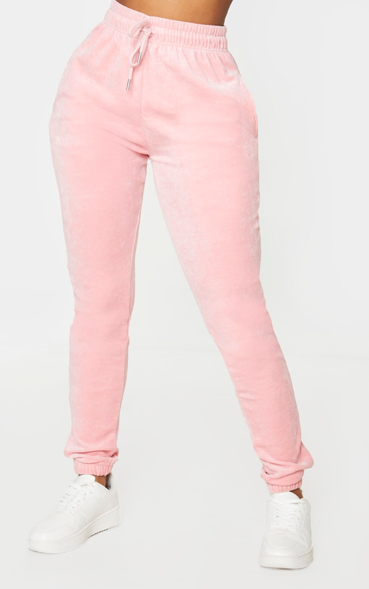 PRETTYLITTLETHING Shape Dusty Pink Velour Skinny Jogger 2