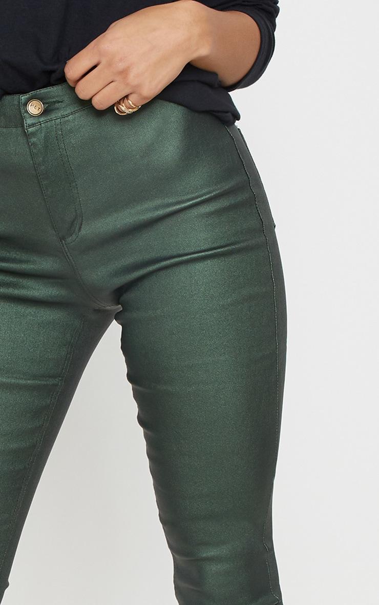 Khaki Coated Denim Skinny Jeans  5
