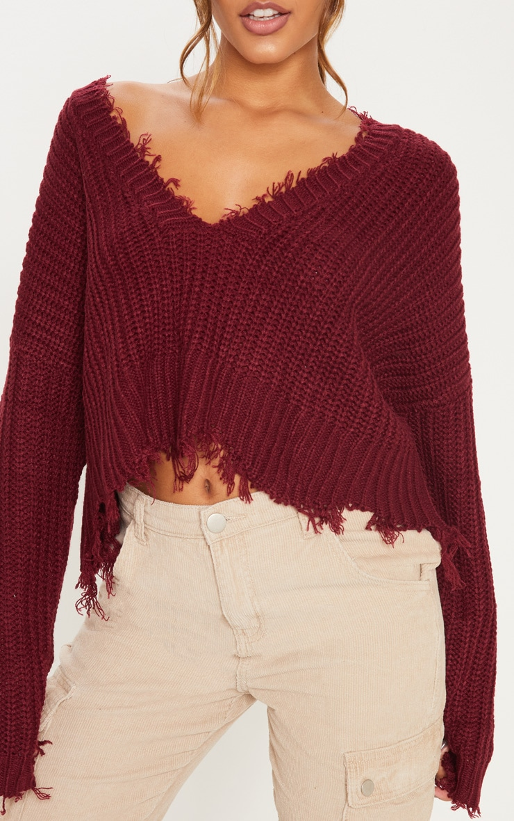 Burgundy Fringe Hem Knitted Sweater  5