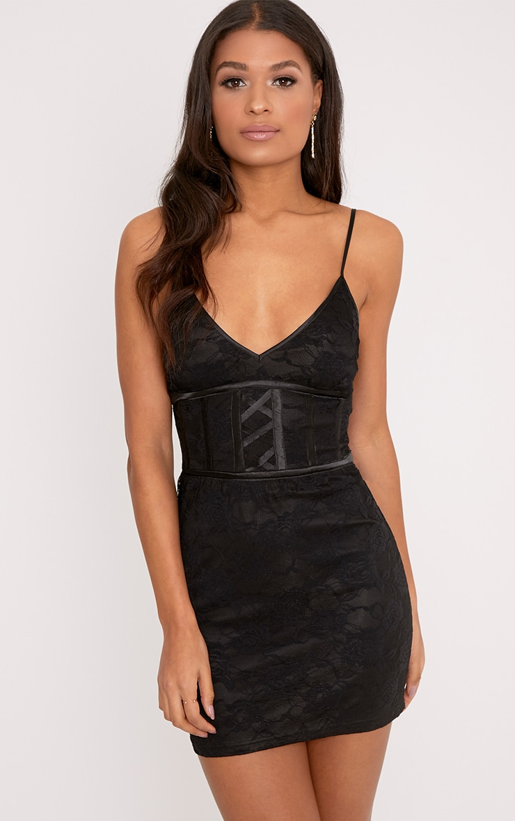 Sasha Black Corset Detail Strappy Lace Bodycon Dress 1