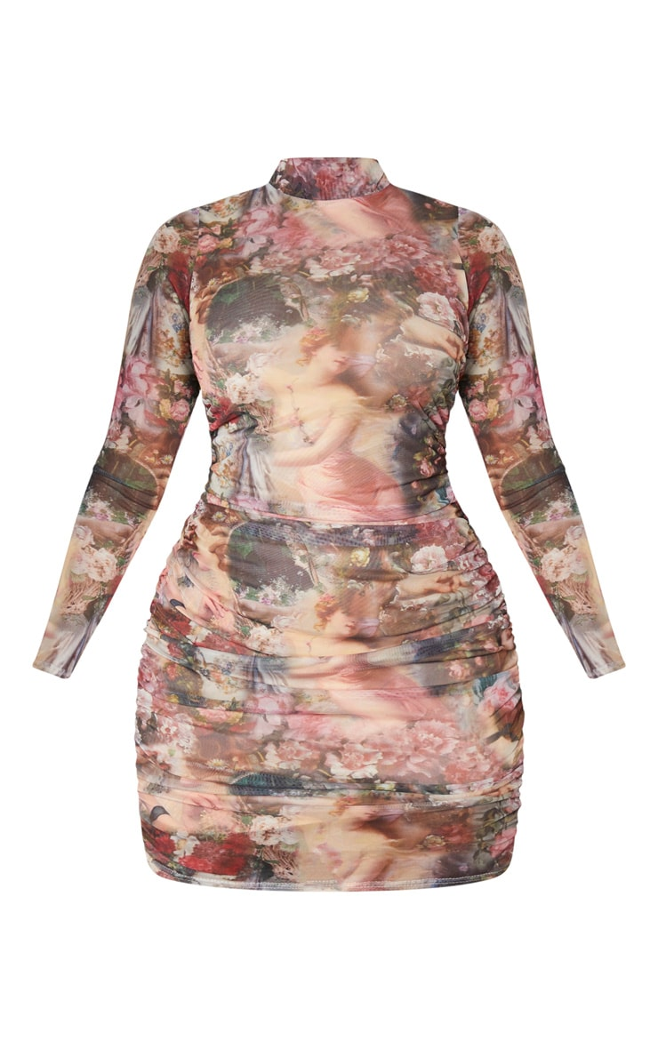 Shape Nude Renaissance Printed Long Sleeved Bodycon Dress 3