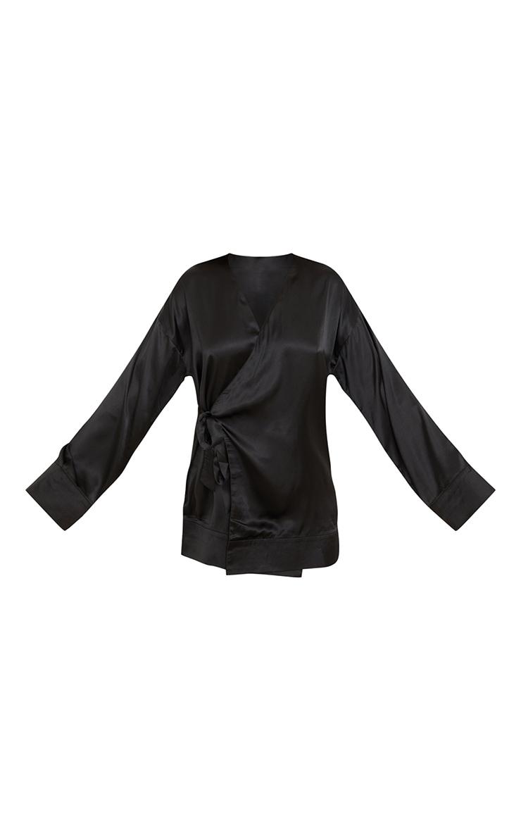 Black Kimono Side Tie Satin Robe 5