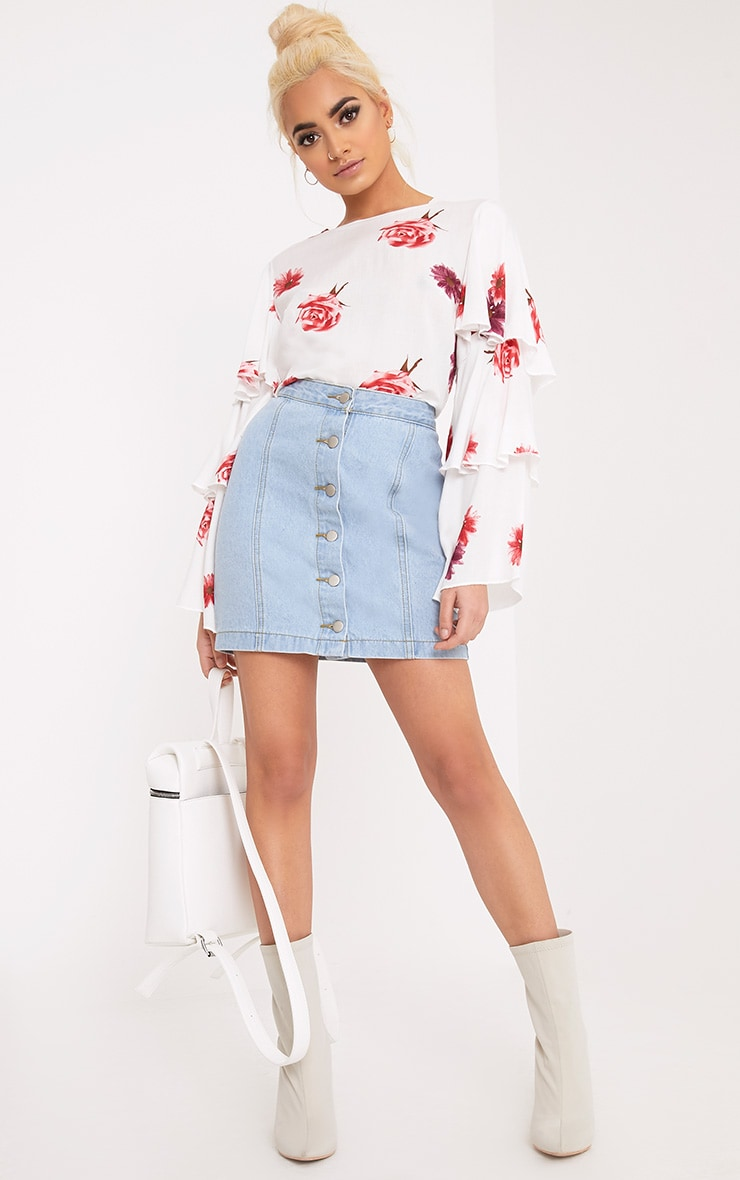 Lexia White Frill Longsleeve Floral Printed Blouse  3