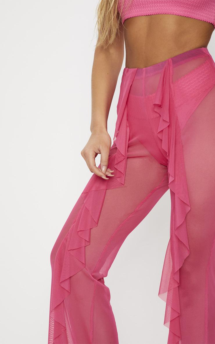 Pink Frill Front Mesh Beach Trouser 5