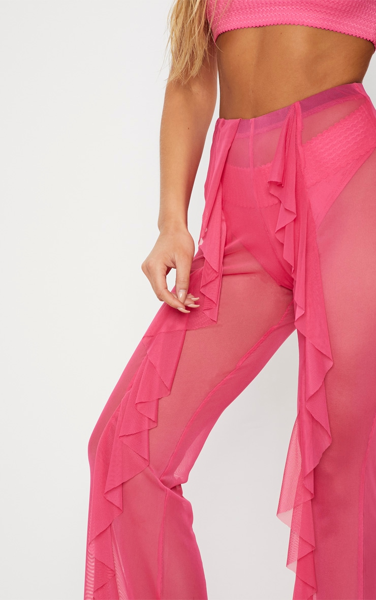 18de50ae4a Pink Frill Front Mesh Beach Trouser | PrettyLittleThing