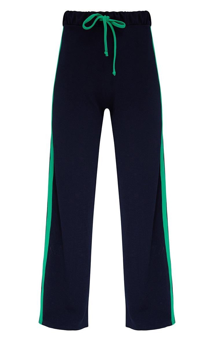 Navy Wide Leg Contrast Stripe Track Pants  3