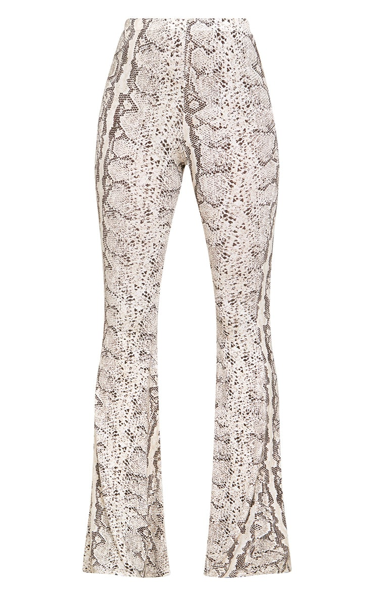Taupe Snake Print Flared Trousers 3