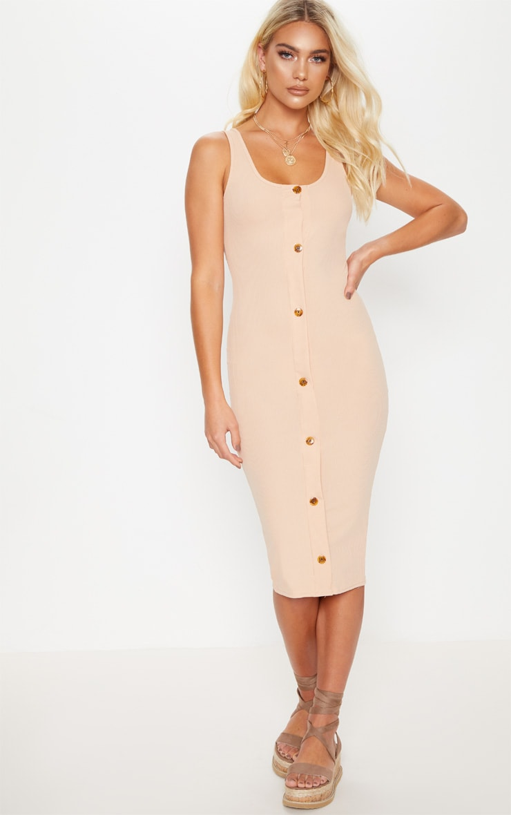 Stone Ribbed Button Detail Midi Dress
