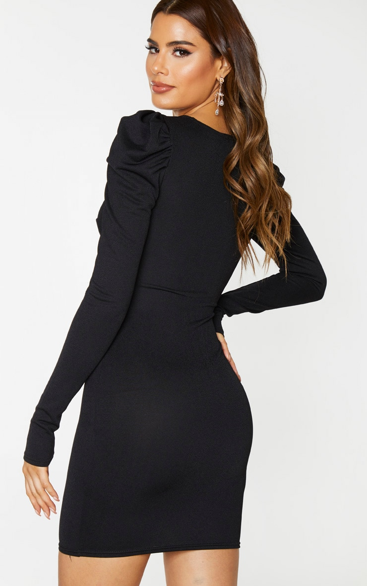 Tall Black Button Front Puff Shoulder Bodycon Dress 2