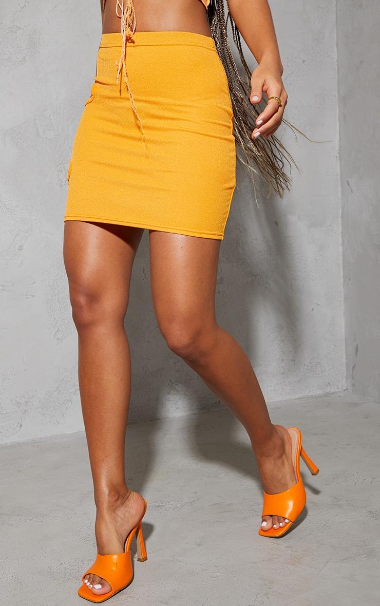 Orange Crepe Cut Out Mini Skirt 2