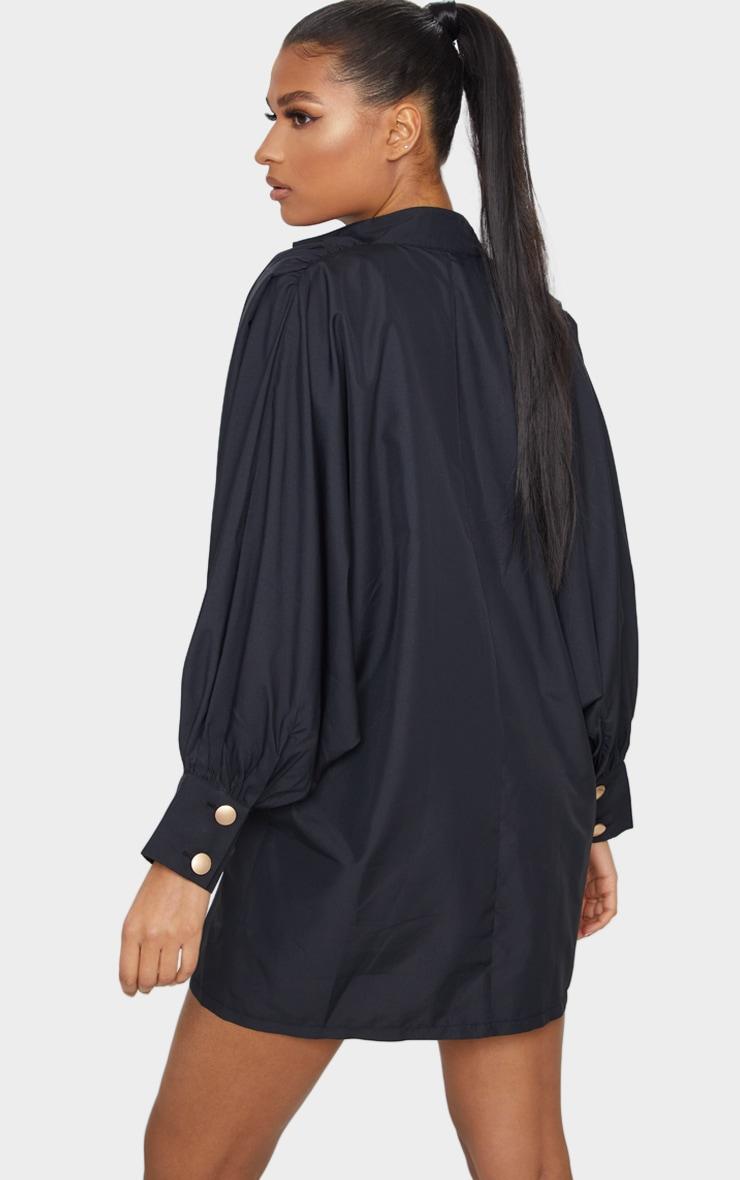 Black Gold Button Detail Shirt Dress 2