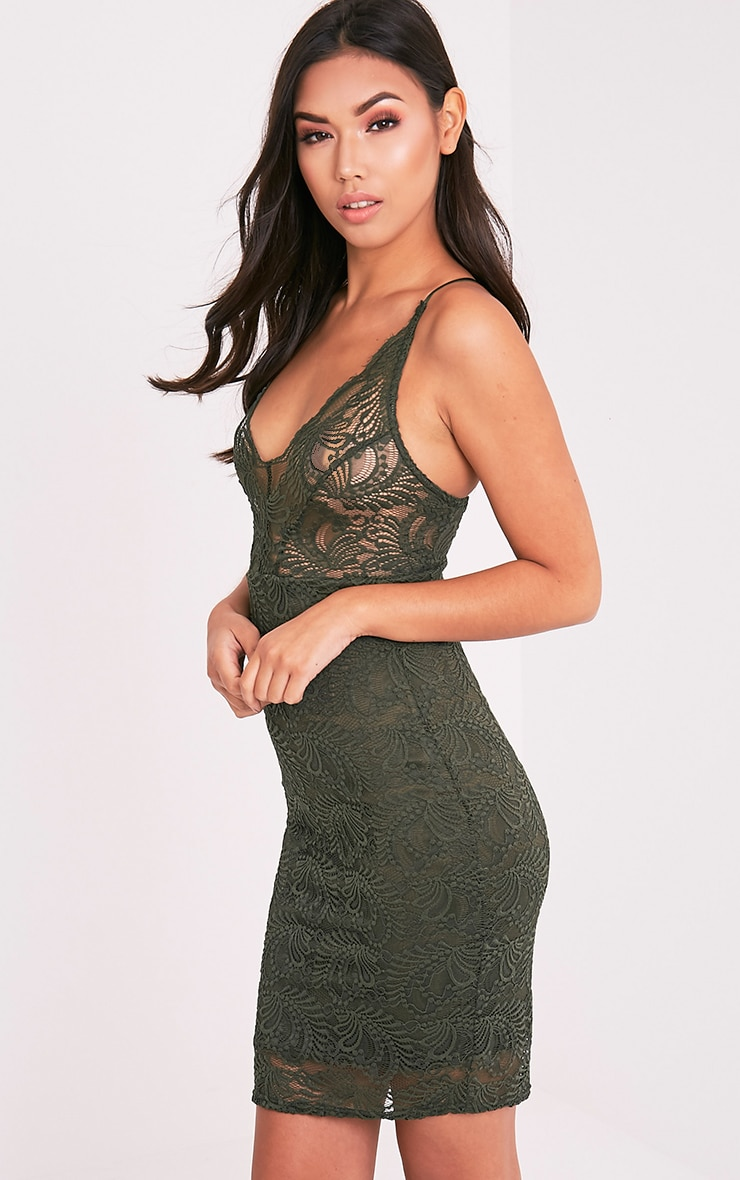 Lucila Khaki Sheer Lace Bodycon Dress 4