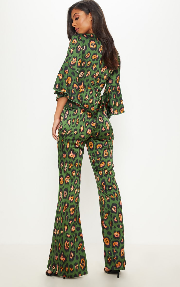 Green Leopard Print Flared Sleeve Jumpsuit 2
