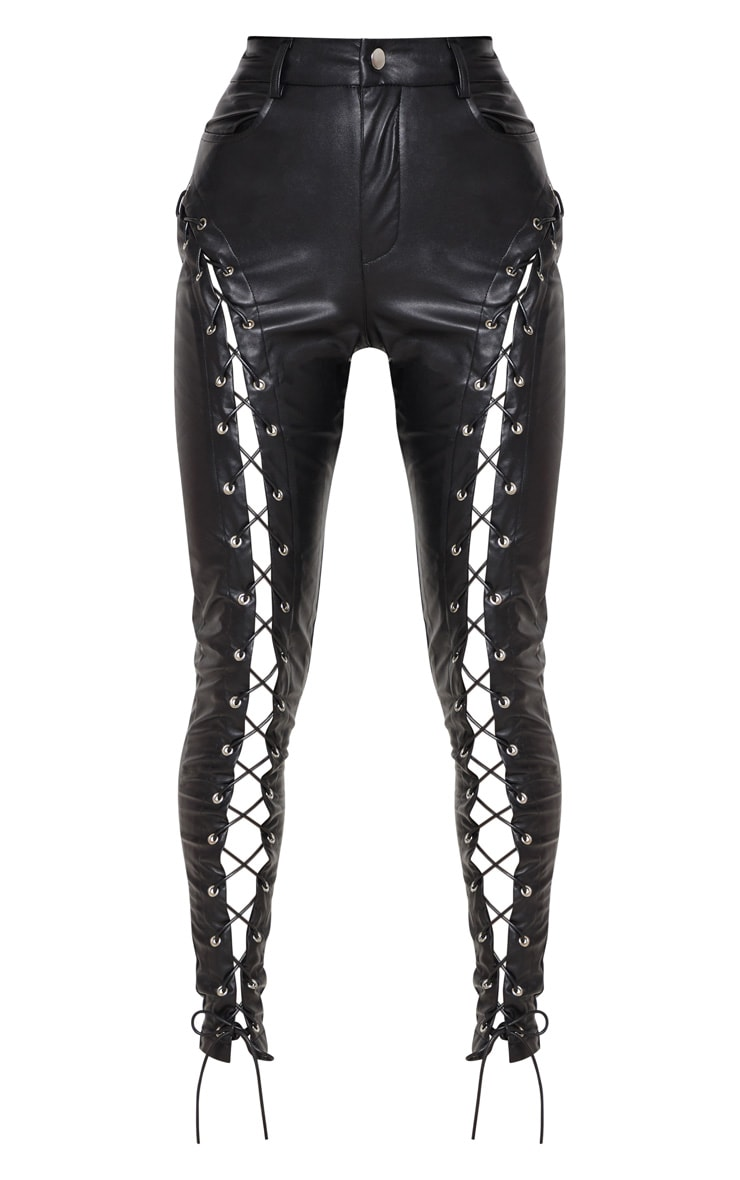 Black Faux Leather Extreme Curve Lace Up Skinny Pants 3