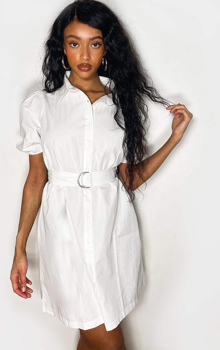 White Short Puff Sleeve Shirt Dress 1