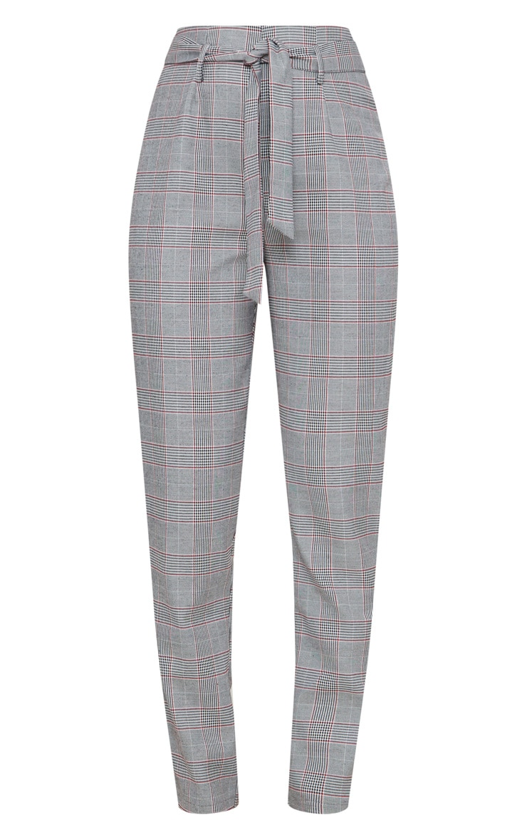 Grey Check Belted Tapered Trousers 3