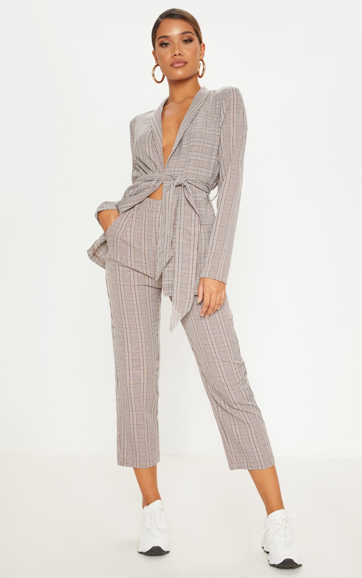 Brown Check Straight Leg Trouser 1