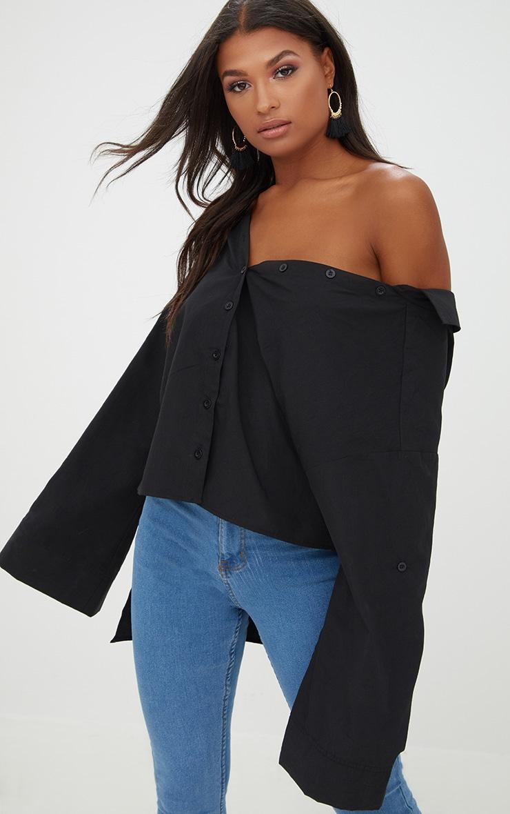 Black Oversized Off Shoulder Shirt Prettylittlething Usa