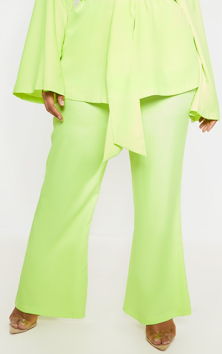 Plus Neon Lime Woven Wide Leg Suit Pants 2