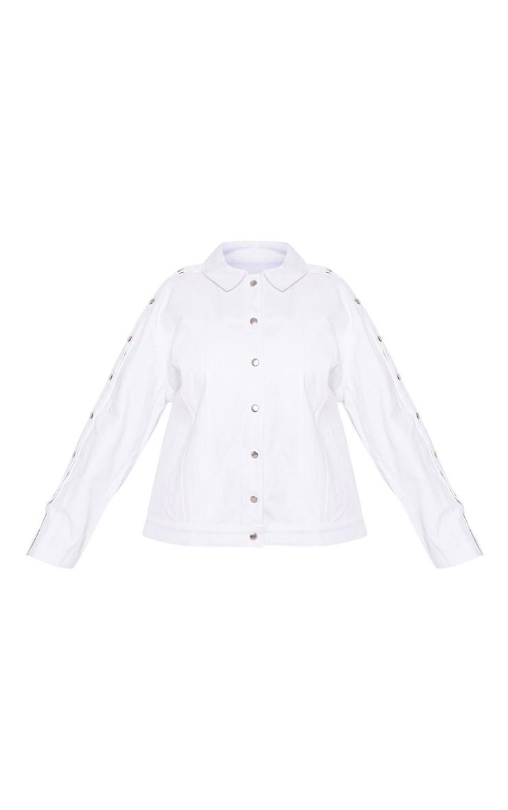 Plus White Popper Detail Denim Jacket 3