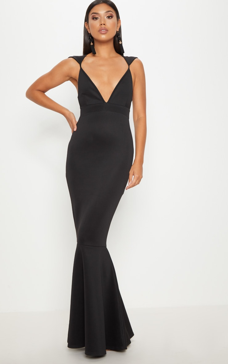 Black Extreme Plunge Shoulder Detail Fishtail Maxi Dress 1