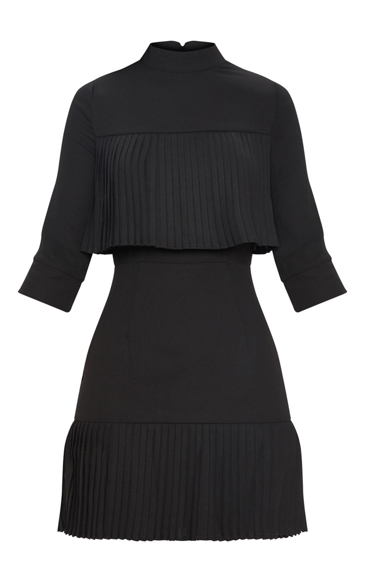 Black Pleated Detail Frill Hem Bodycon Dress 3