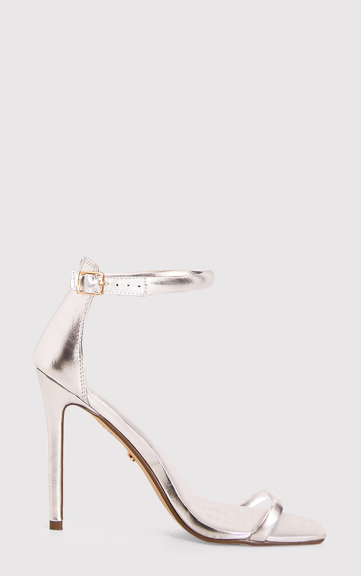 Ruby Silver Square Toe Strappy Heels 2
