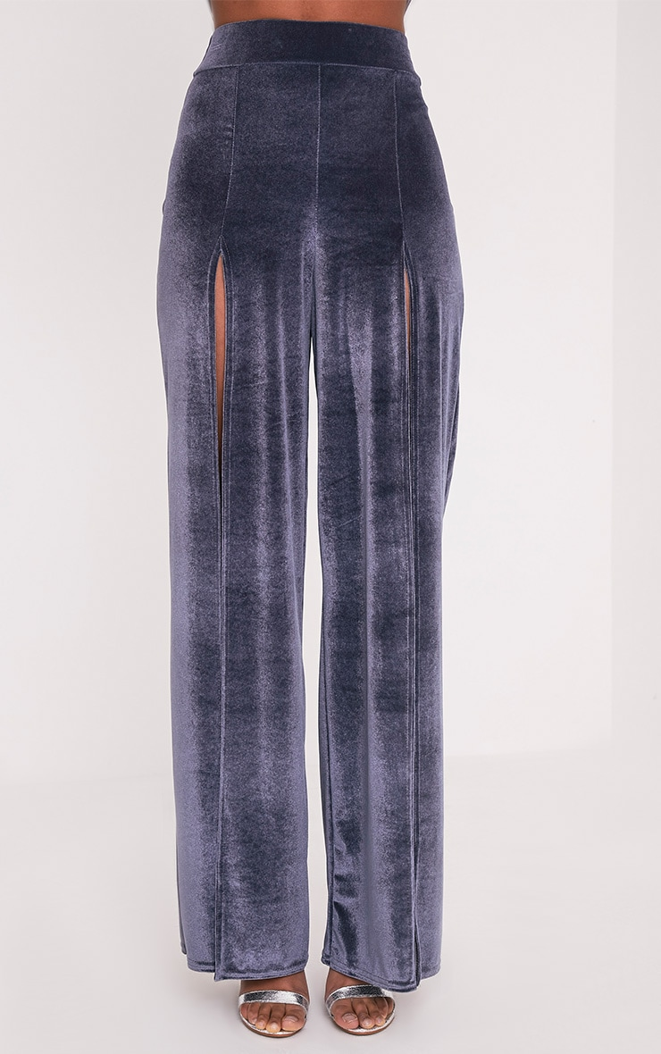Kiley Grey Split Front Velvet Wide Leg Trousers 2