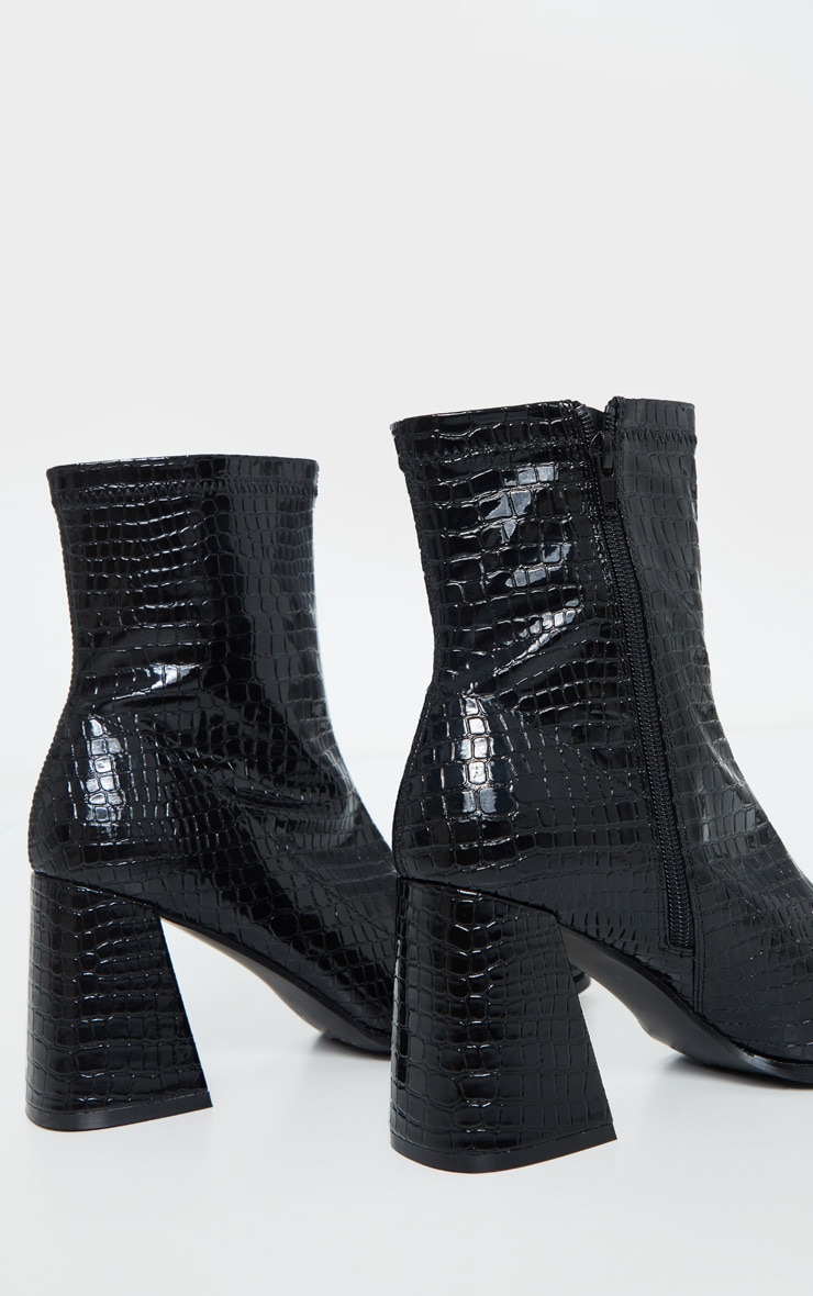 Black Croc Up Square Toe Mid Flare Block Heel Sock Boots 4