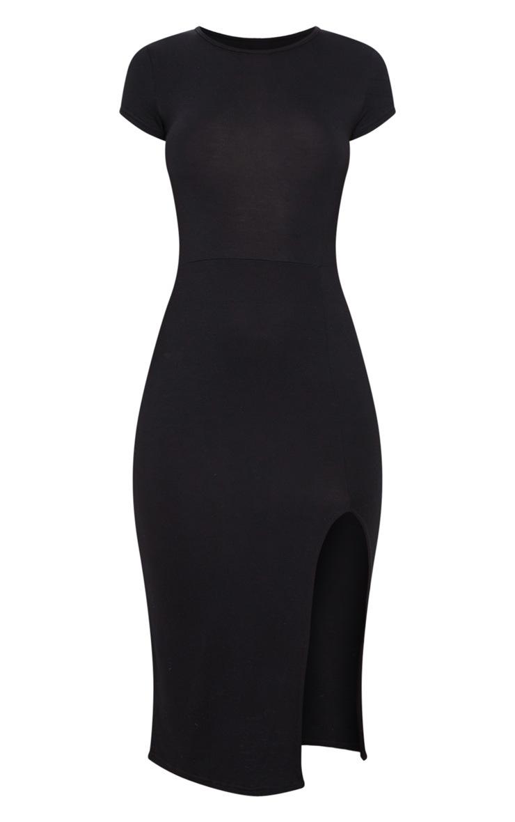 Black Crew Neck Short Sleeve Split Midi Dress 3