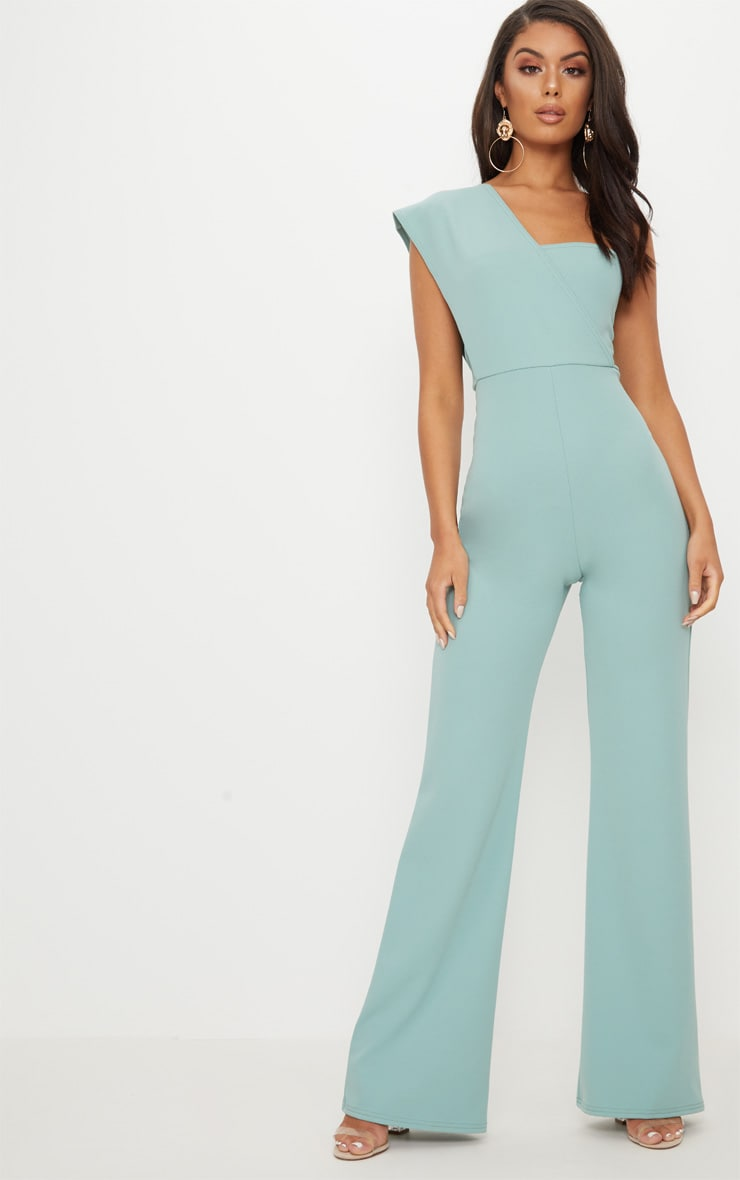 Mint Drape One Shoulder Jumpsuit image 1