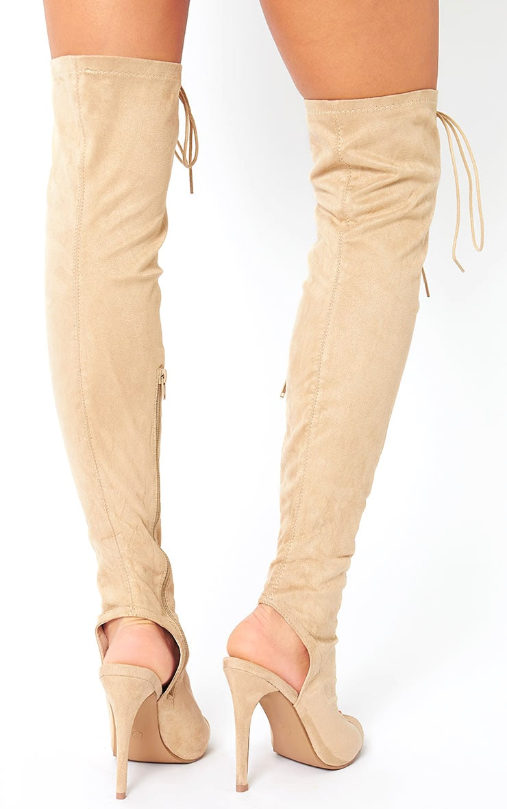 Valentina Nude Suede Lace Up Thigh Boots 4