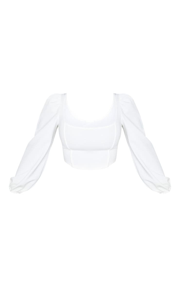 White Binding Balloon Sleeve Crop Top 3