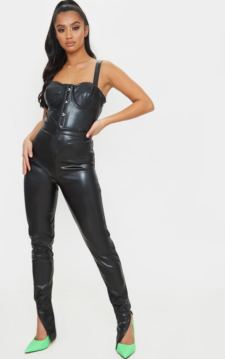 Petite Black Faux Leather Split Hem Leggings 1
