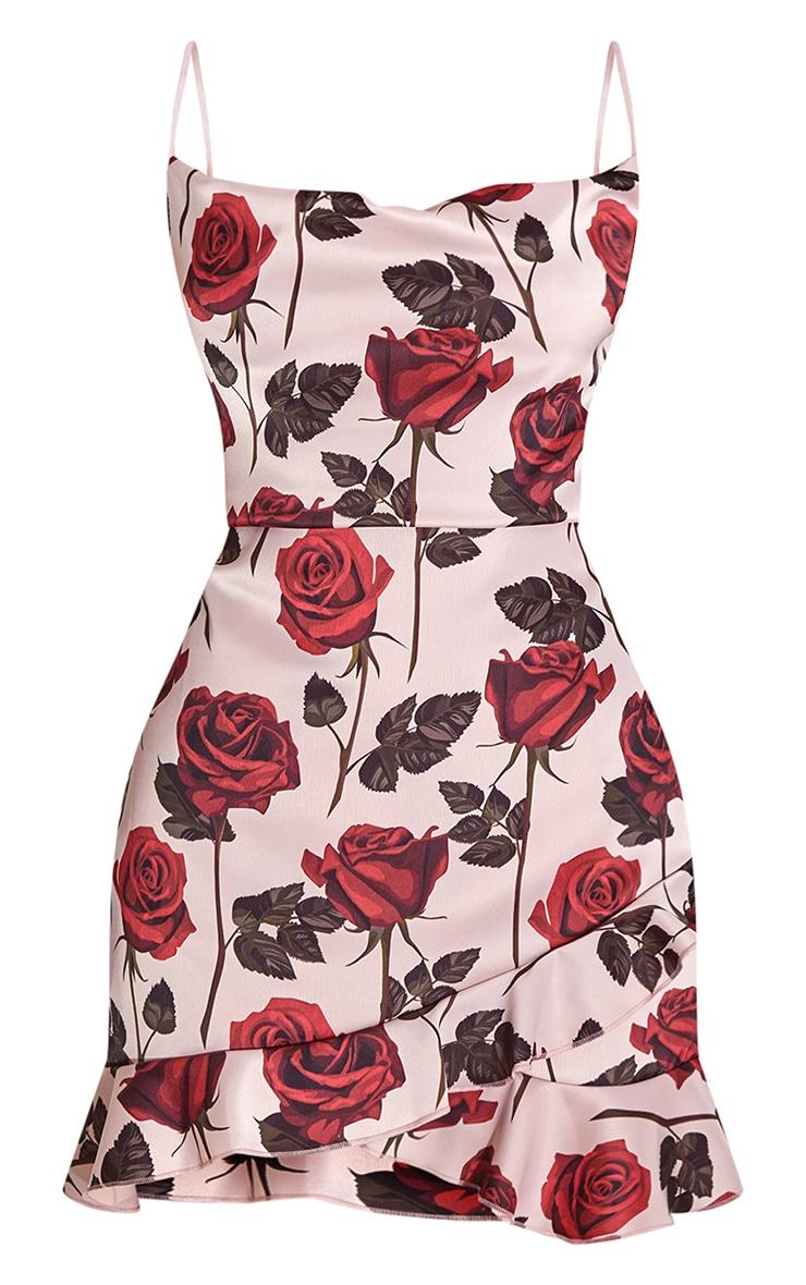 Nude Rose Print Frill Hem Detail Strappy Bodycon Dress 5