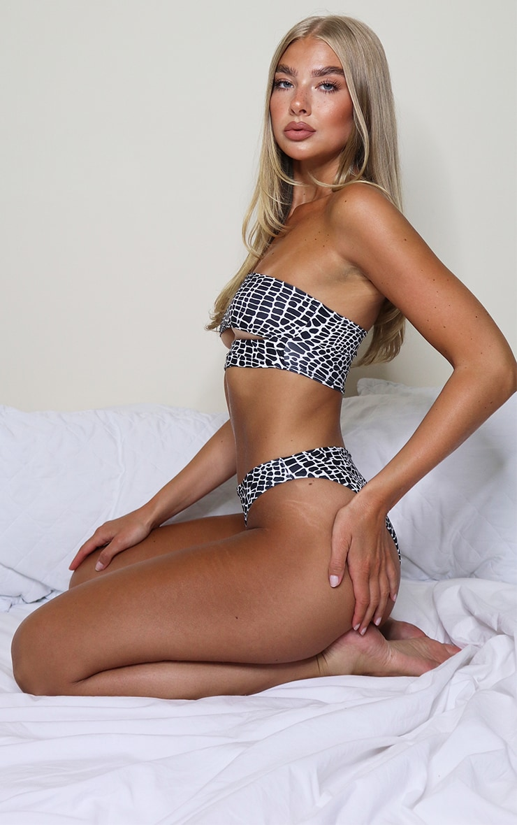 Monochrome Snake High Rise Cheeky Bum Bikini Bottom 3