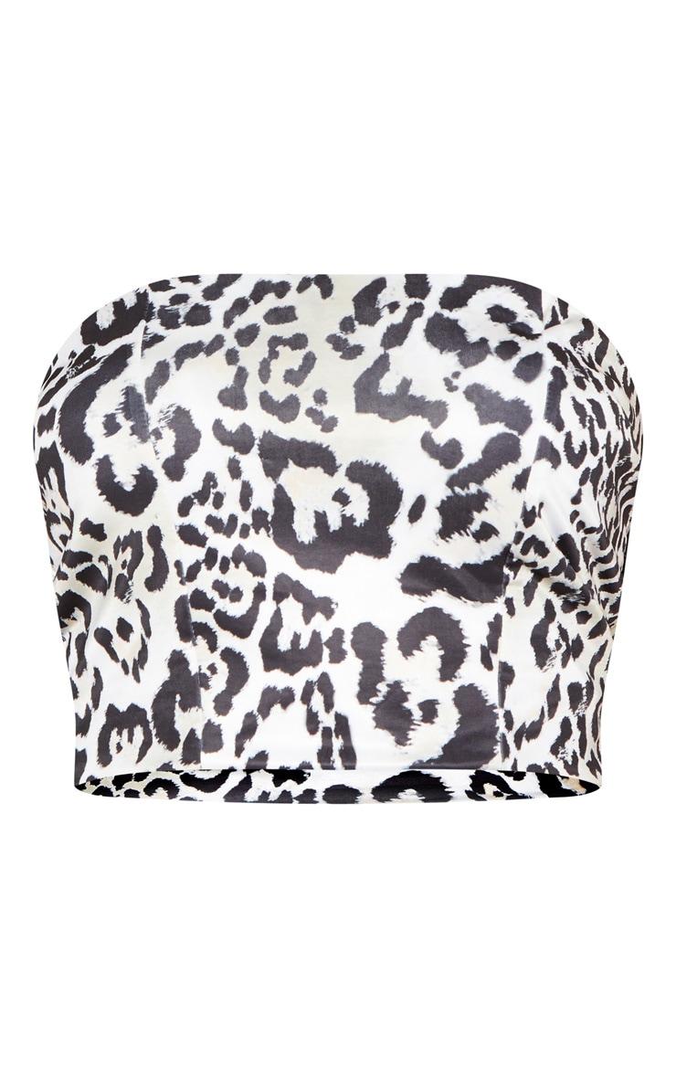 Mono Leopard Print Slinky Bandeau Crop Top 3