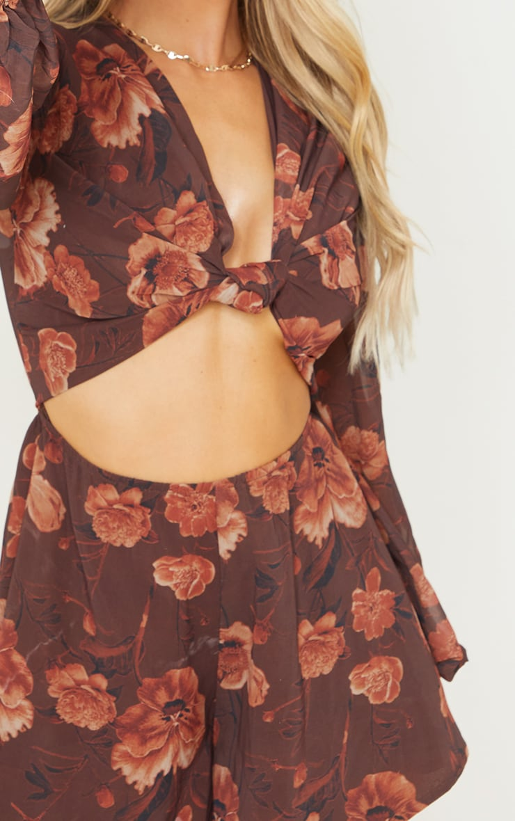Chocolate Floral Print Knot Bust Long Sleeve Romper 4