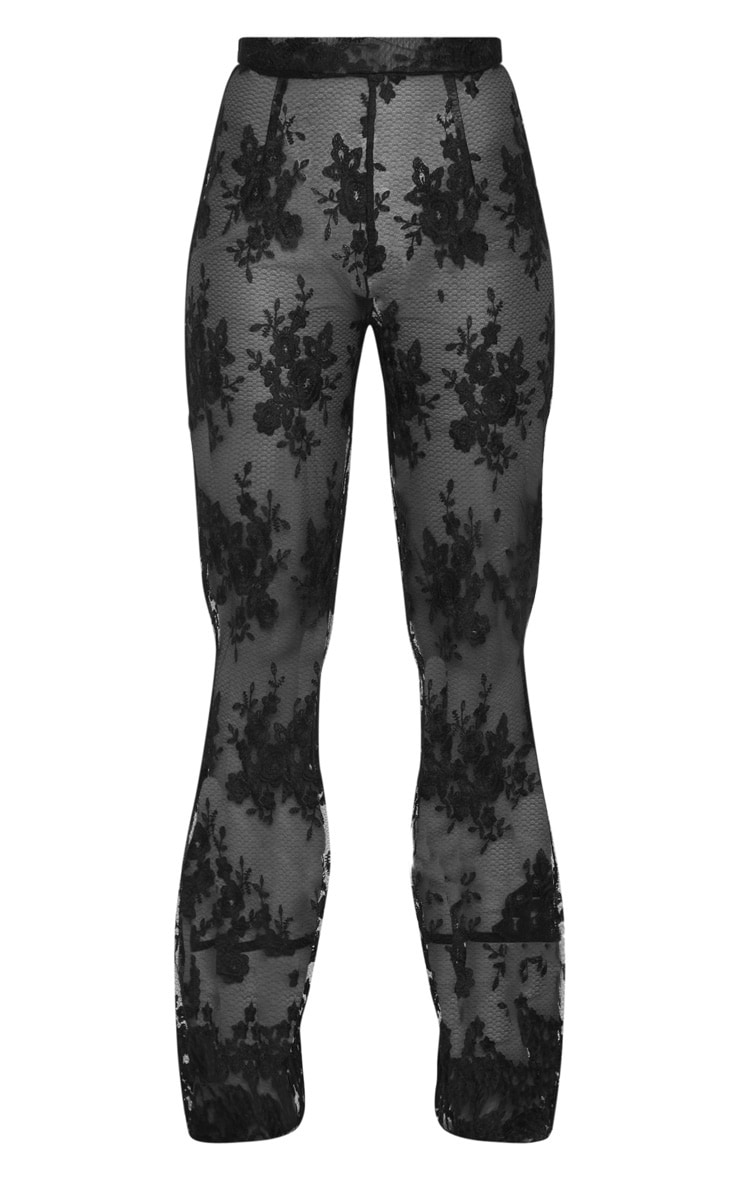 Black Occasion Sheer Lace Flare Leg Pants 3