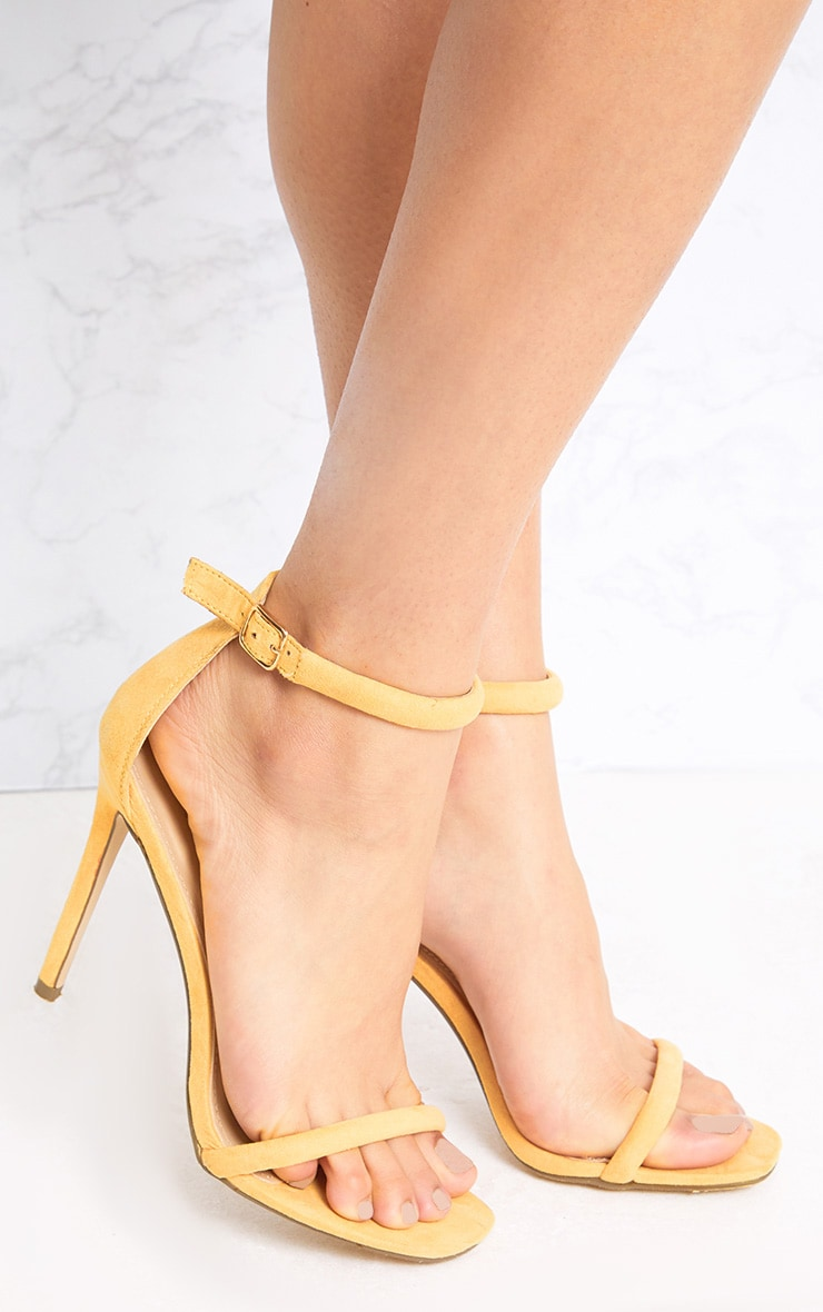 Ruby Yellow Square Toe Strappy Heels 1
