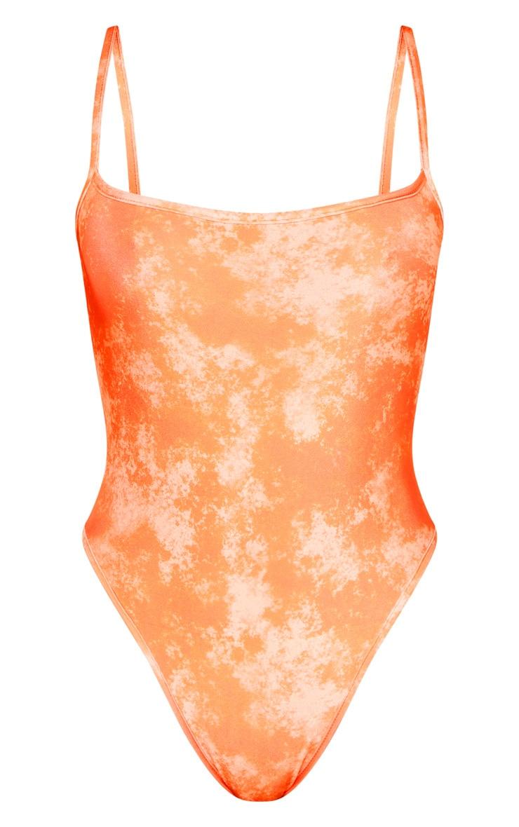 Maillot de bain orange javélisé à col arrondi 3