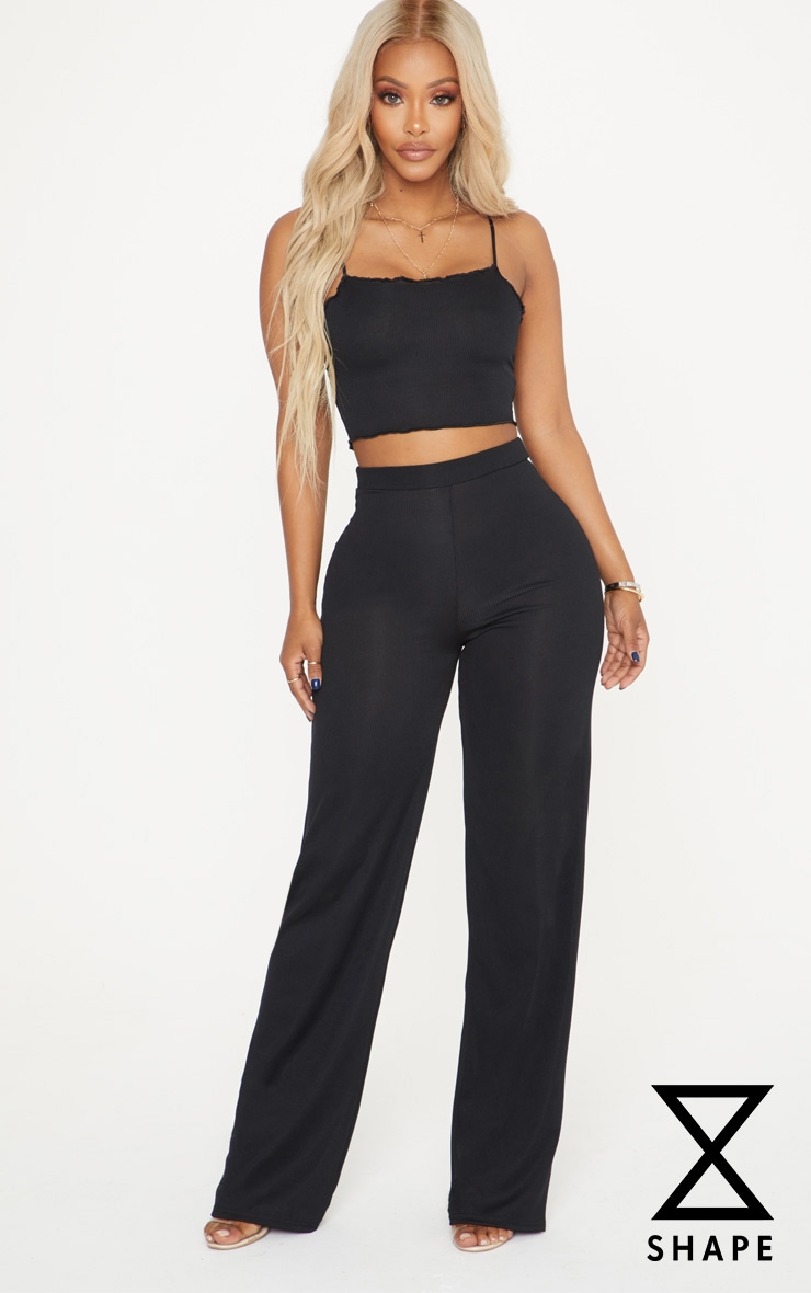 Shape Black High Waist Ribbed Wide Leg Trousers 1
