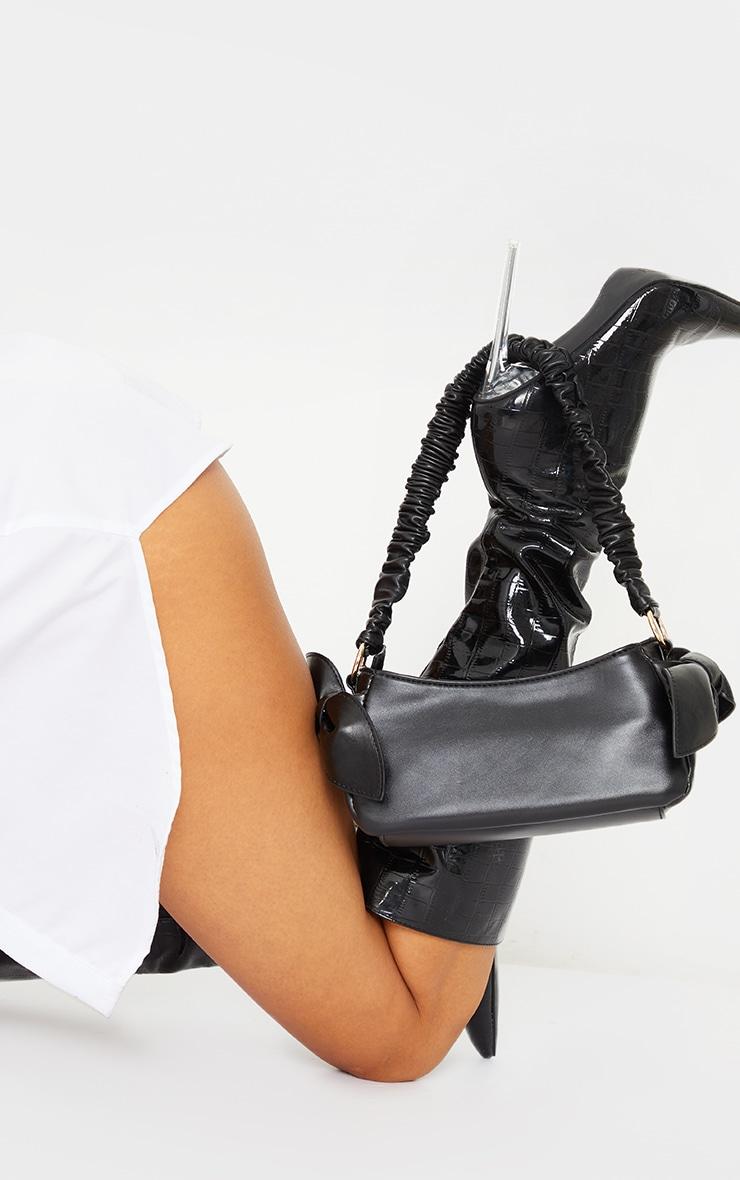Black Ruched Handle Double Bow Shoulder Bag 1