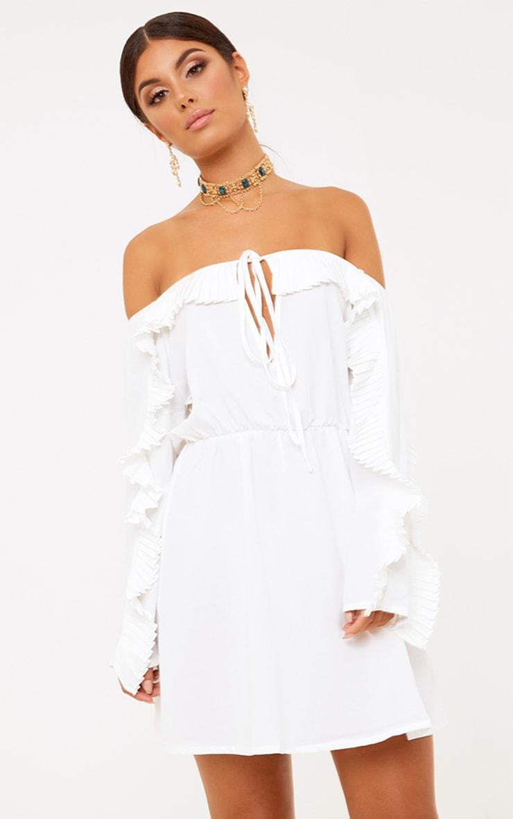 White Pleat Detail Ruched Waist Swing Dress 2