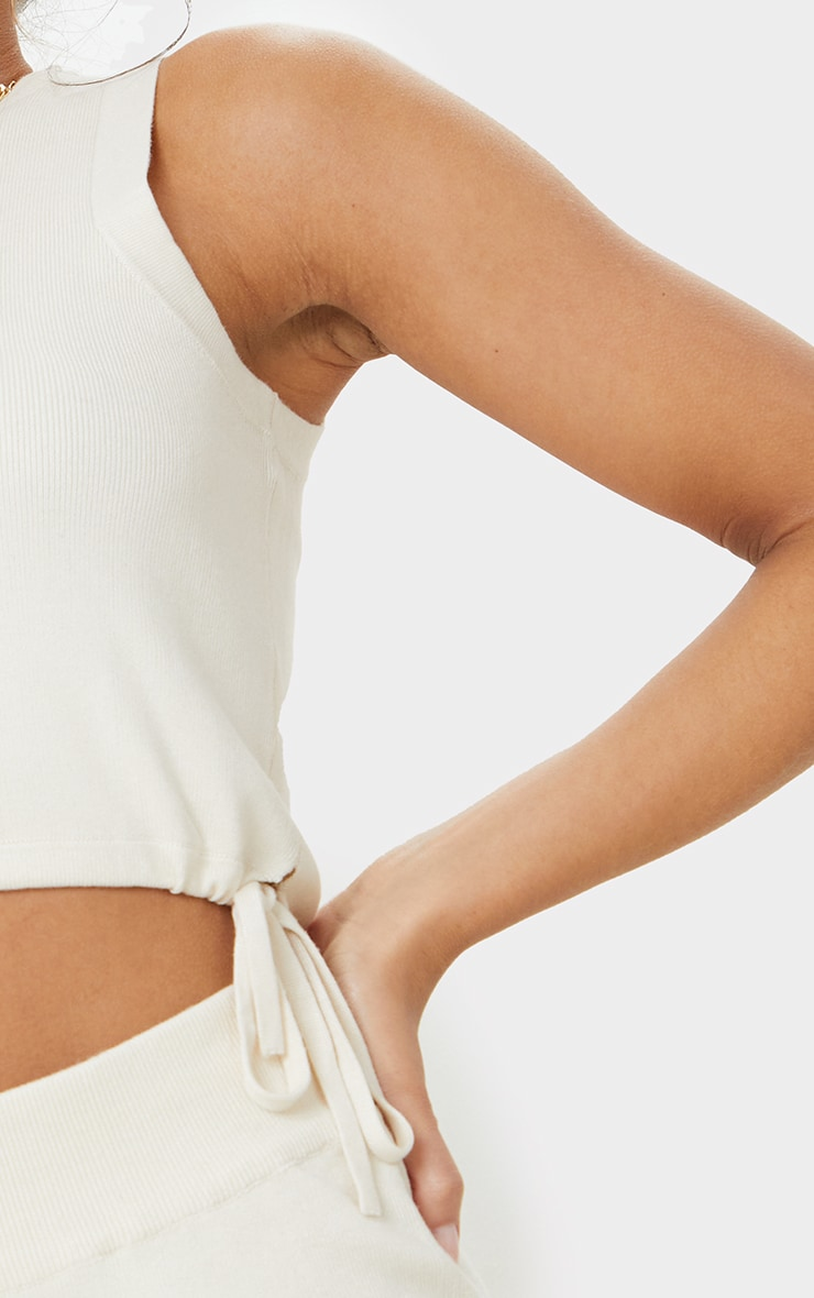 Cream Knitted Sleeveless Drawcord Top 4