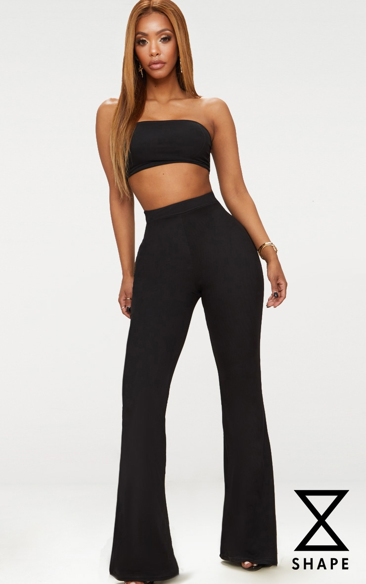 Shape Black Mesh Flared Trousers 1