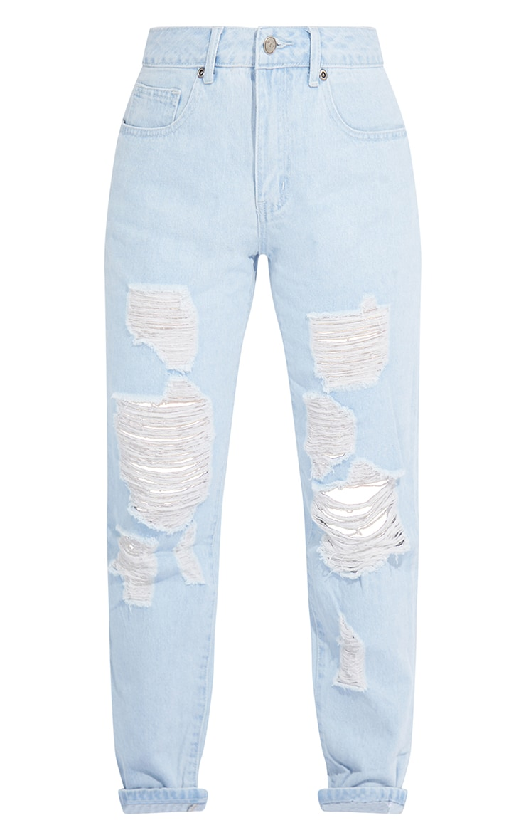 Petite Light Wash Ripped Jeans 5