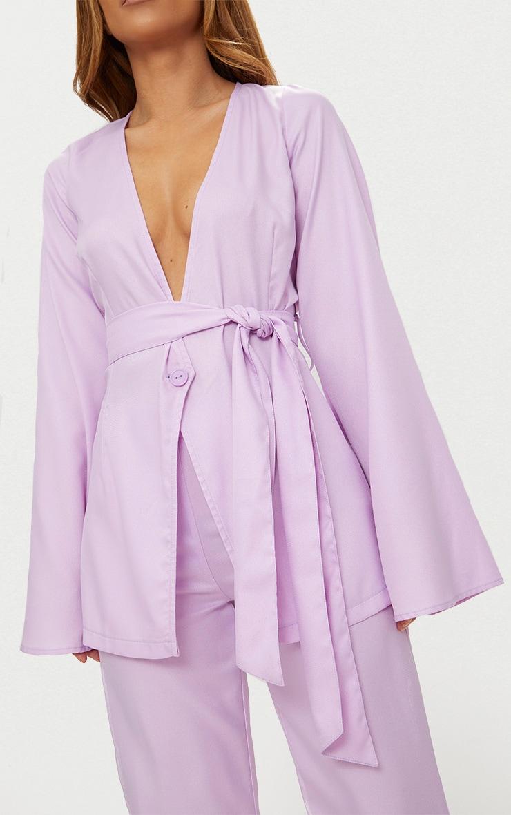 Petite Lilac Woven Belt Detail Blazer 6