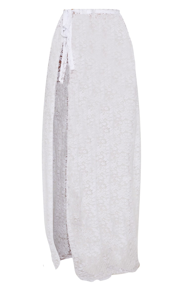 White Lace Tie Side Maxi Beach Skirt 3