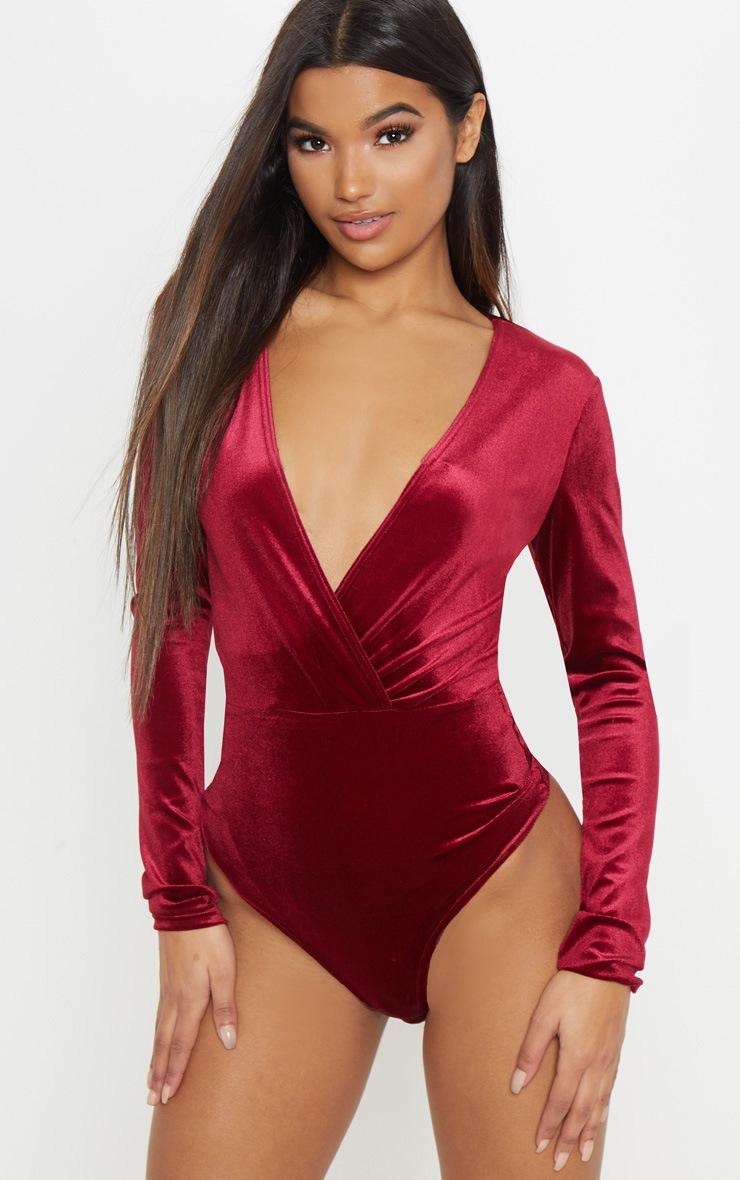 Burgundy Plunge Velvet Long Sleeve Bodysuit 2